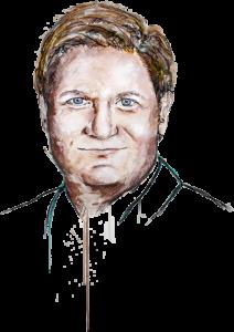 gemaltes Portrait von freundlich lächelndem Michael Broecker